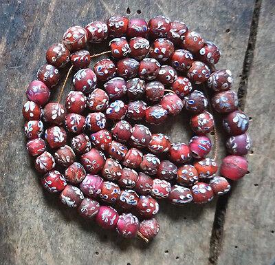 Alte venezianische Glasperlen, Blütenp., Old Venetian Glass Beads, Flower Beads