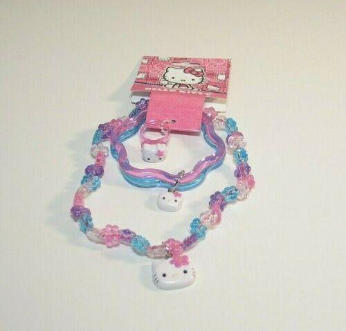 Hello Kitty Jewelry Set Beaded Necklace Ring Charm Bracelet Plastic NEW