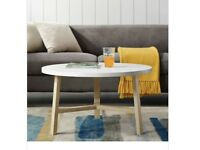 Coffee Table - White Marble and Light Oak Round Coffee Table