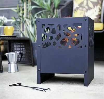 Outdoor Fire Pit Log Burner Garden Patio Heater Steel Black Firebasket ✅FREE P&P