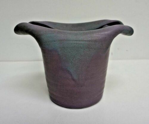 "Muncie Art Pottery Top Hat Green over Lilac Vase 5"" Model 432"