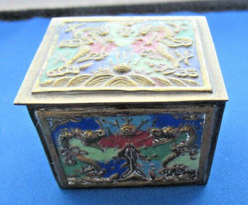 Vtg Oriental Asian Brass & Enamel Stamp Roll Box Trinket Box w/ Dragon Design