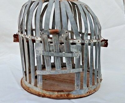 1900's Vintage Bird Cage Old Antique Tin Made Painted Primitive Garden Cage C1