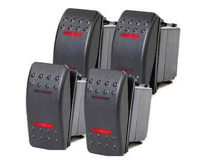 4 Pcs Marine Boat Trailer Rocker Switch On-off-on Spdt 4 Pin 2 Red Led Rv