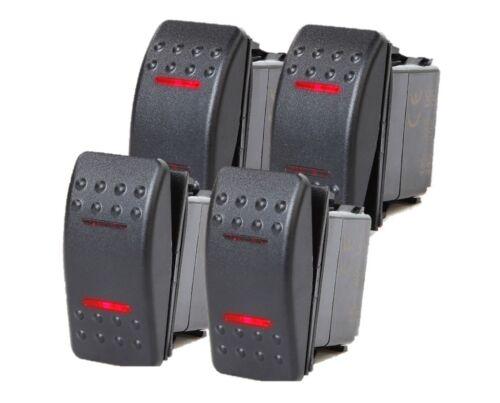 # 4 Pcs Marine Boat Trailer Rocker Switch ON-OFF-ON SPDT 4 Pin 2 Red LED RV