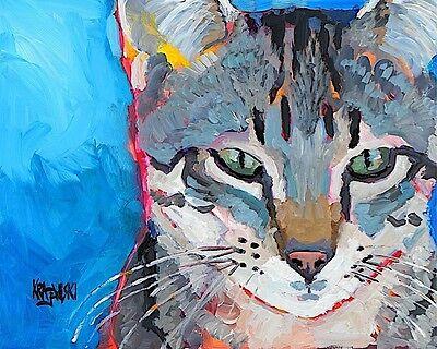 Tabby Cat Art Print Signed by Artist Ron Krajewski Painting 8x10