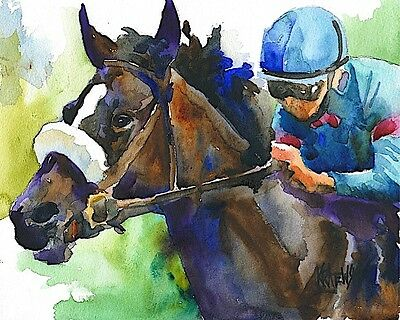 Zenyatta Art Print Signed by Artist Ron Krajewski Painting 8x10 Horse Racing
