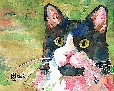 Tuxedo Cat Art Print Signed by Artist Ron Krajewski Painting 8x10
