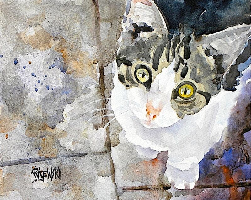 Tabby Cat Art Print from Painting | Kitten Gifts | Poster Picture, Mom, 8x10