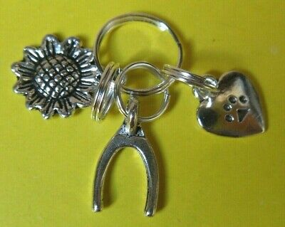 Dog Collar Charms:  Wishbone, Sunflower and Heart