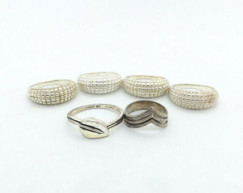 LOT of 6 Sterling Silver Rings, 21.3g