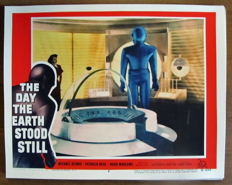 THE DAY THE EARTH STOOD STILL vintage sci-fi movie lobby card reprint 1951 14x11