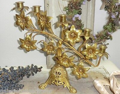 N1238 Altarleuchter alt Metall Kerzenständer Leuchter Shabby Chic Messing Bronze