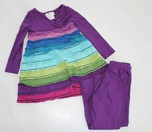 Emily Rose girls rainbow selvedge dress leggings size 3 4 NWOT