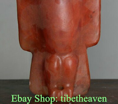 "8.4"" Old China Hongshan Culture Red Crystal Carving Sun God Bird Hawk Statue"