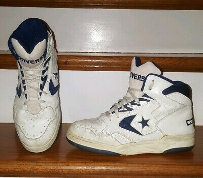 86a33b8d7395 Vintage Converse NBA High Top Mens Leather Basketball Shoes Sz 8.5 White  Blue