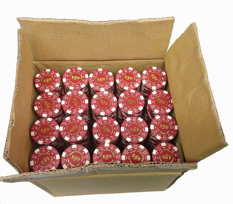 1000 Desert Palace $5 Red Clay Composite Poker Chips 11.5gr  GREAT DEAL *