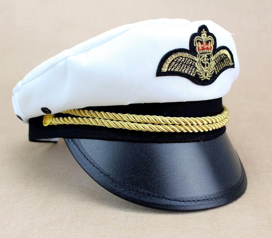 4e195982b5a Adult Men WomenCaptain Hat Navy Cap White Gold Black Captains Ship Sailor  New