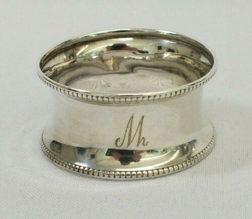 Antique 1906 Sterling Silver Francis Howard Monogramed M Beaded Napkin Ring