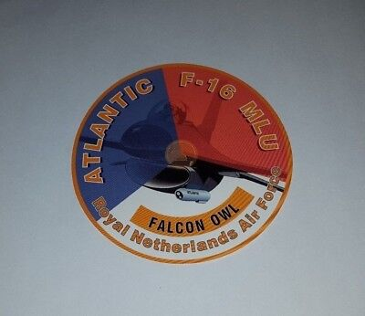 Atlantic F-16 MLU FalconOwl Royal Netherlands Air Force Sticker, preowned/unused