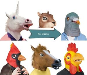 Horse-Head-Mask-Creepy-Animal-HalloweenCostume-Theater-Prop-Novelty-Latex-Rubber