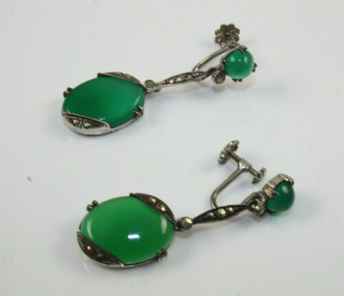 Art Deco Marcasite Green Beveled Stone Earrings Set in Sterling Silver Setting