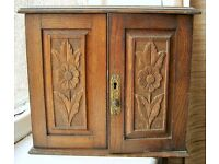 Antique Edwardian Oak or Rosewood Smokers Cabinet with a Sterling Silver Plate and Brass fittings