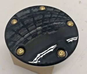 BLACK N BRASS 5 HOLE DOMED TIMING COVER harley twin cam big twin points 1999 up