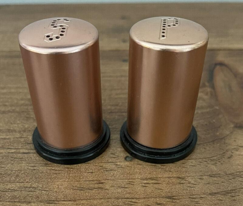 Vintage MCM Copper Tone Salt and Pepper Shakers SP38