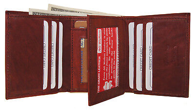 MORE 4 LESS= 100% GENUINE COWHIDE LEATHER TRI-FOLD & CENTER FLAP WALLET IN WINE