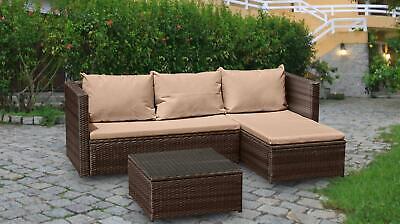 Garden Furniture - RATTAN SOFA SET GARDEN CORNER L SHAPED OUTDOOR PATIO FURNITURE SET SEATING TABLE