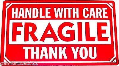 250 2x3 Fragile Handle With Care Shipping Labelsticker