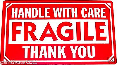 50 3x5 Fragile Handle With Care Label Free Ship