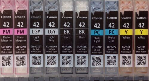 10 Virgin Empty Genuine Canon CLI-42 Color Inkjet Cartridges 42 with Chip