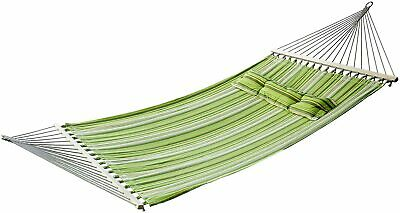 Outsunny Hammock 2 Person Swing Striped Outdoor Garden Pillow Green 188L x 140W