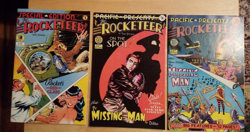 Pacific Presents #s 1, 2 & Special Edition #1 Rocketeer Lot of 3, Dave Stevens