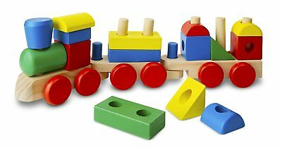 Melissa & Doug Stacking Train - Classic Wooden Toddler Toy 18 pcs Best Toy Gift (Melissa And Doug Stacking Train)