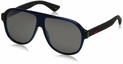 NEW Gucci GG0009S-004 59mm Aviator Sunglasses Blue-Black / Silver Flash (Flash Lens Aviators)