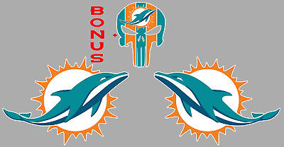 (Miami Dolphins Pair of Logos +Punisher Sticker Decal Car 4