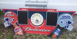 Budweiser NFL  Bar chalk score boards with clock and light