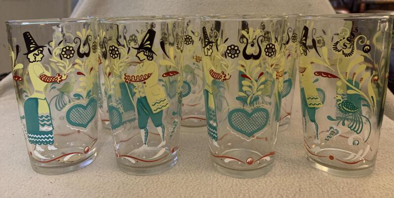 7 Vintage AMISH PA Dutch Glass Tumblers PYREX Butterprint Aqua Distelfink