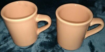 2 vintage Homer Laughlin China HLC Peach Cups Mugs Fiesta Coffee Tea made in USA 2 Homer Laughlin China