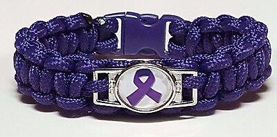 Lupus   Fibromyalgia Purple Handmade Paracord Bracelet With Purple Ribbon Emblem