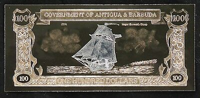 Antigua & Barbuda $100 - 23KT GOLD NOTE - Major Bonnet's Sloop - Scarce - (100 Antigua Note)