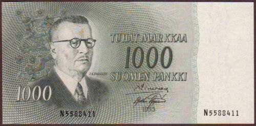 FINLAND  1000 Markkaa  1955  AUNC