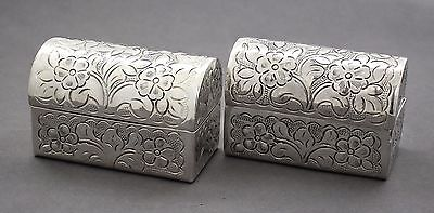 Vintage silver plate 2 domed small repousse floral casket/jewellery/trinket box