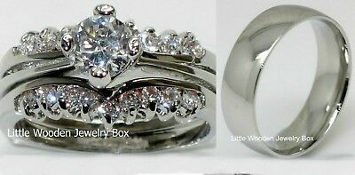 His and Hers 925 Sterling Silver 14k White Gold Engagement Wedding Ring Band (His And Hers Wedding Ring Sets Sterling Silver)