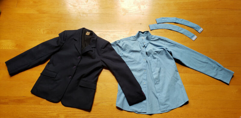 Childrens Youth English Show Coat and Show Shirt, Navy, Light Blue, Size 14, EUC