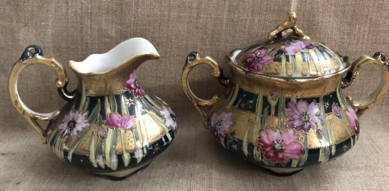Vintage Royal Kinran Nippon Creme and Sugar Set Dark Green Pink Floral Pattern