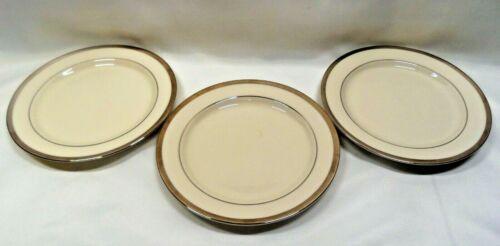 Pickard China USA Bracelet Bread Plates x3 Ivory Platinum Trim & Verge